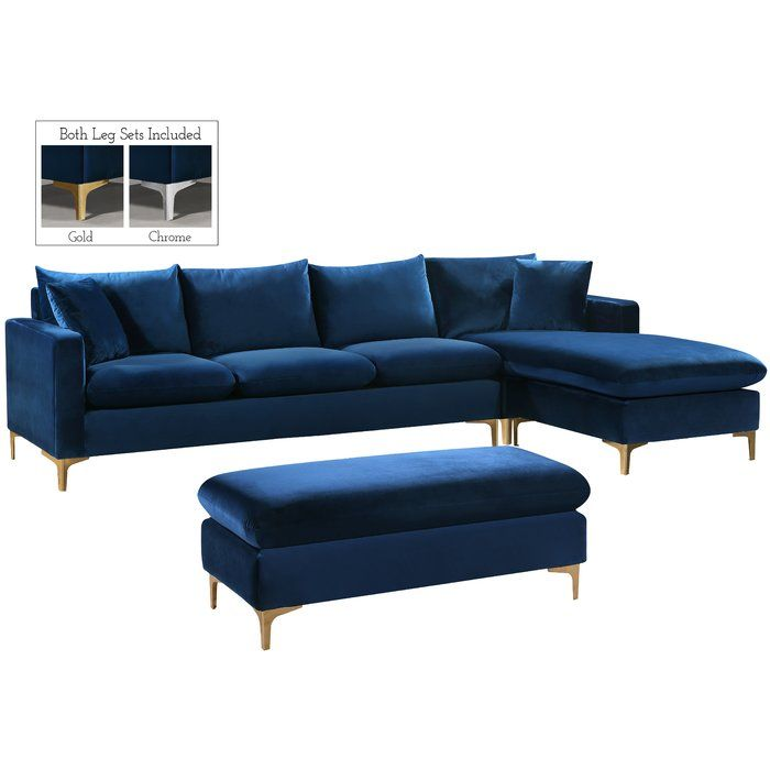 Vera Reversible Sectional Blue Velvet Sofa Living Room