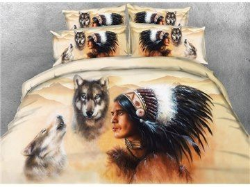 3d Wolf And American Indian Chief Print 5 Piece Comforter Sets Native American Wolf Indian Bedding 3d Bedding
