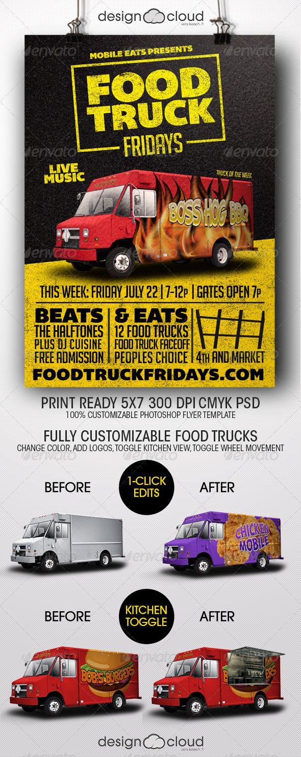 Food Truck Fridays Flyer Template | Flyer template, Club flyers ...