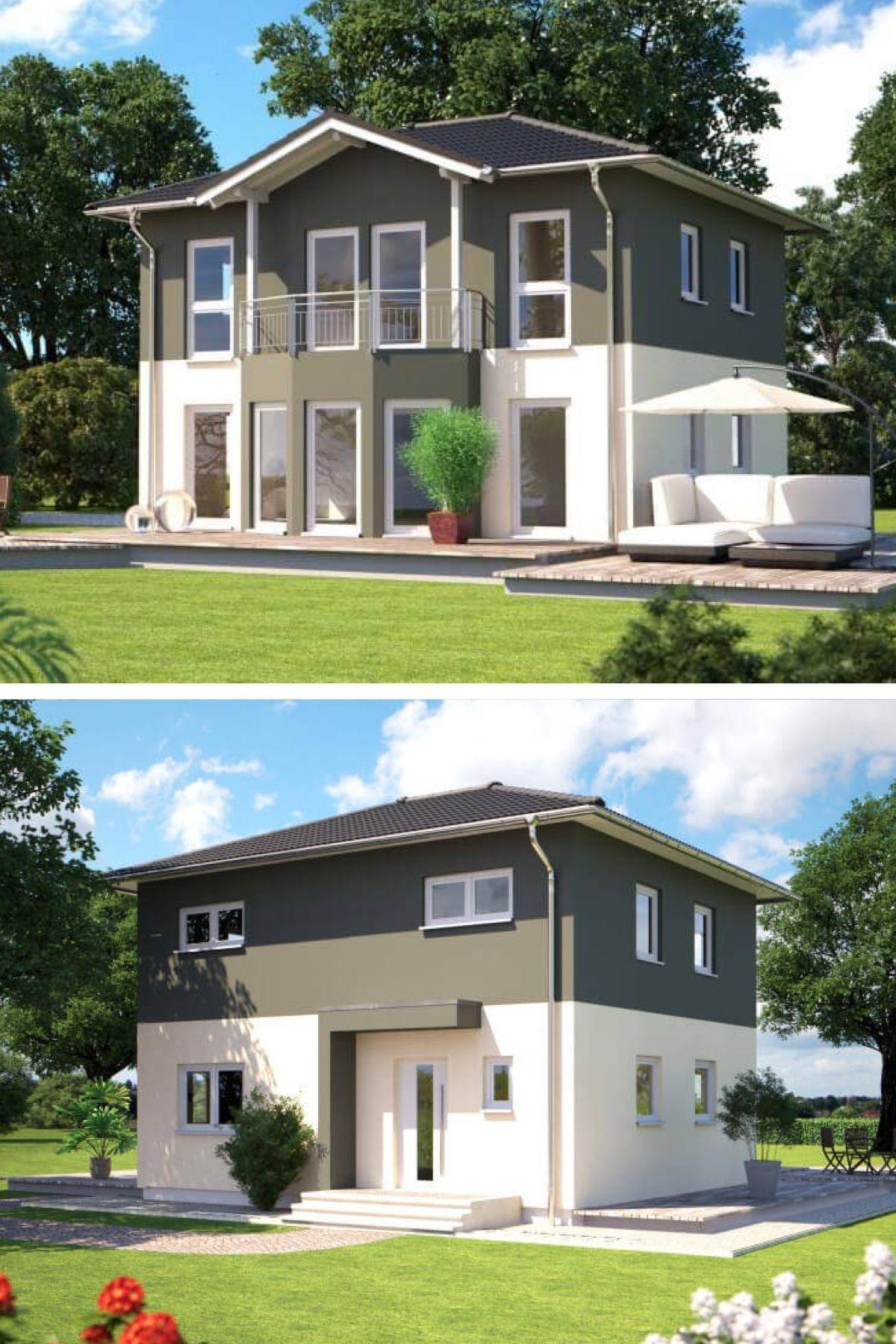 Stadtvilla modern mit Walmdach Architektur - Fertighaus Villa Design ...