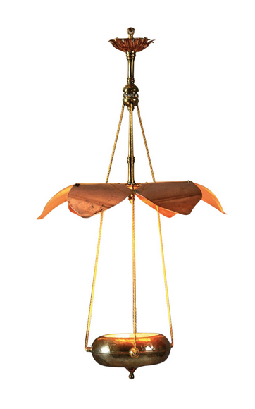 William benson 1862 1924 lustre en cuivre martel et laiton suspension cons - Suspension et lustre ...