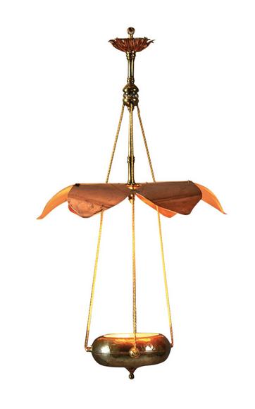 William benson 1862 1924 lustre en cuivre martel et laiton suspension cons - Suspension et lustre ...