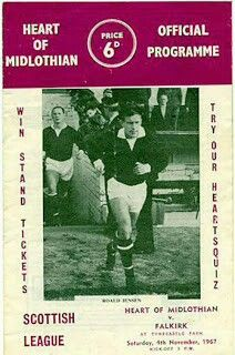 Hearts 1 Falkirk 0 in Nov 1967 at Tynecastle. The programme cover for the Scottish Division 1 game.