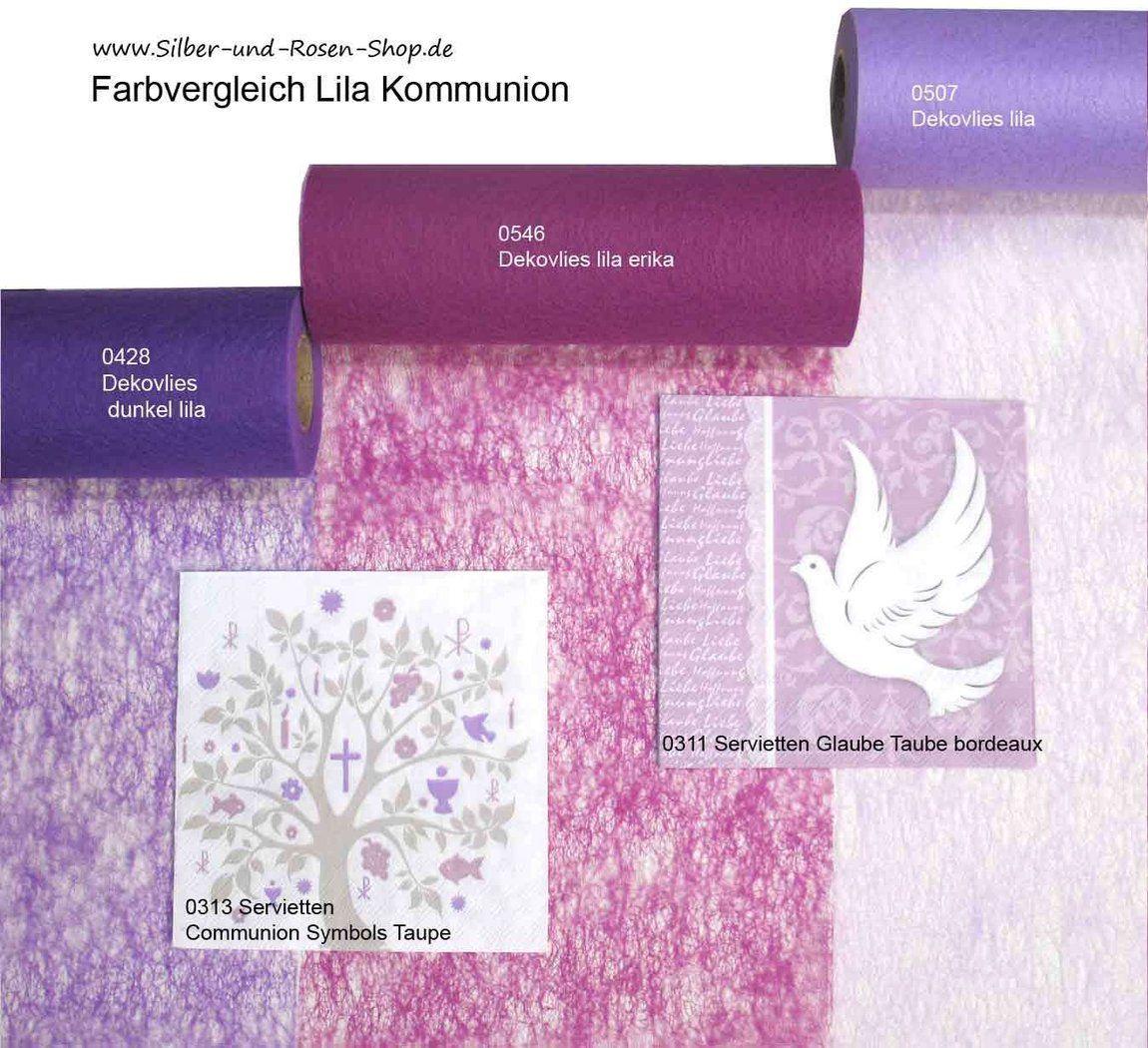 Papierservietten Servietten Glaube Taube Lila Rosa Kommunion und Konfirmation