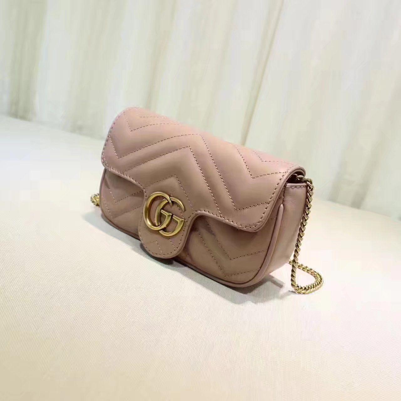 025e062a2 Replica GUCCI GG Marmont matelasse leather super mini bag nude ID:31677