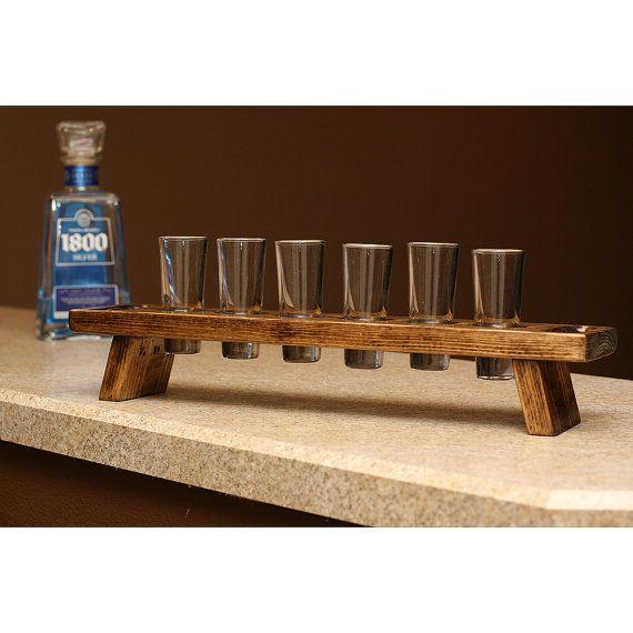Wood Whisky Bottle Holder Ideas: Tasting Flight Tray Shot Glass Set Holder Carrier Tequila