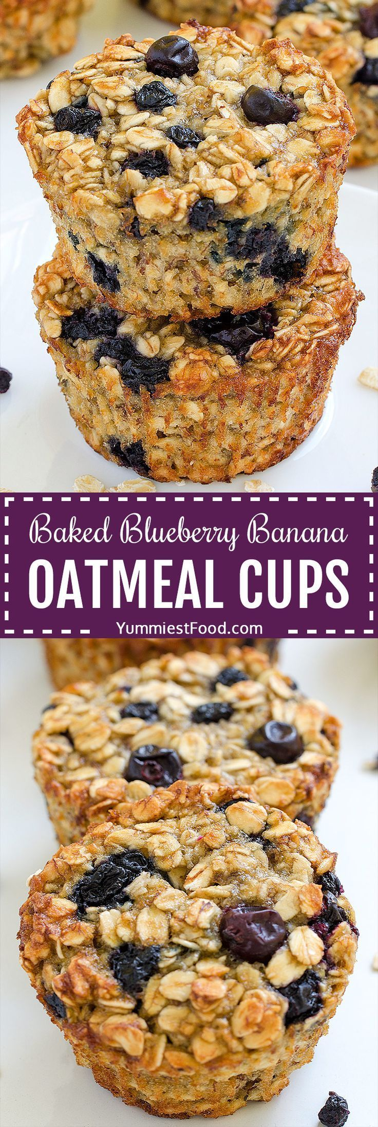 Baked Blueberry Banana Oatmeal Cups images