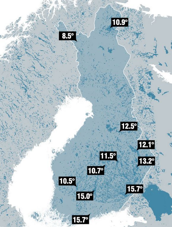 ... and here are the actual (120612) surface-water temperatures in finnish lakes... in these we swim ; ))