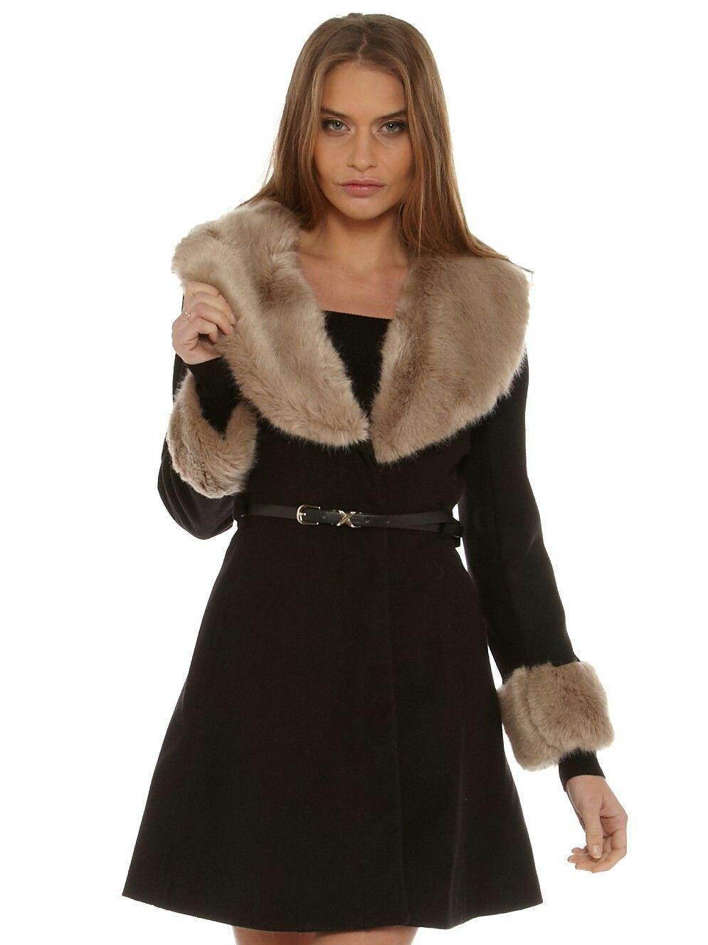 Fur timmed coat