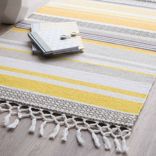 Tapis rayé en coton jaune/gris 60 x 100 cm PORTO | Objets ...