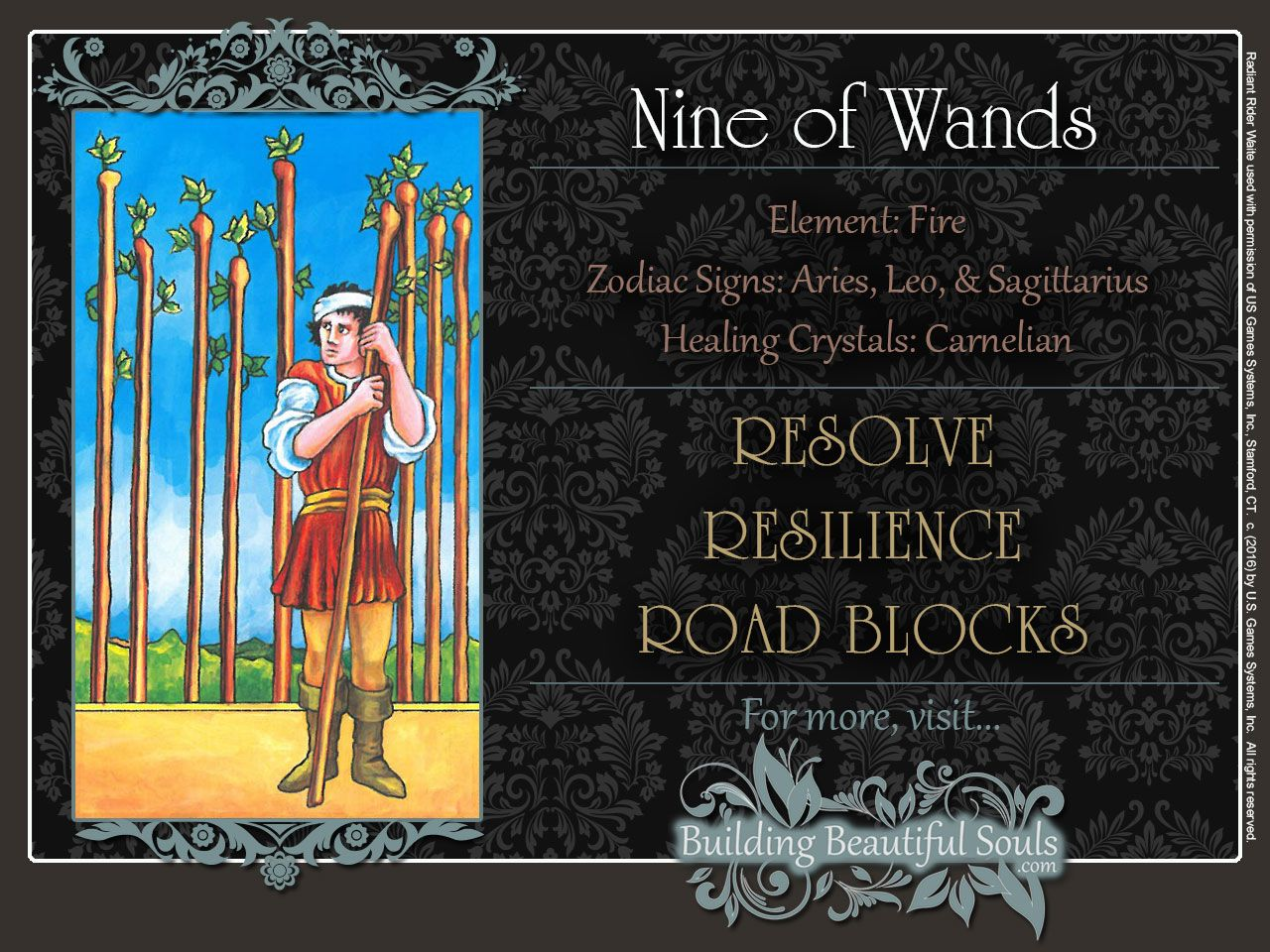 THE Nine of Wands TAROT CARD MEANINGS - UPRIGHT& REVERSED! The Nine of Wands Tarot includes LOVE, NUMEROLOGY, & SYMBOLS for more accurate TAROT READING. #minorarcana #suitofwands #nineofwands #tarot #tarotreading #learntarot #tarotcards #tarotcardreading #tarotcardmeanings #psychic #psychicreadings #divination #oraclecards #riderwaitetarot #numerology #astrology #magic #magick