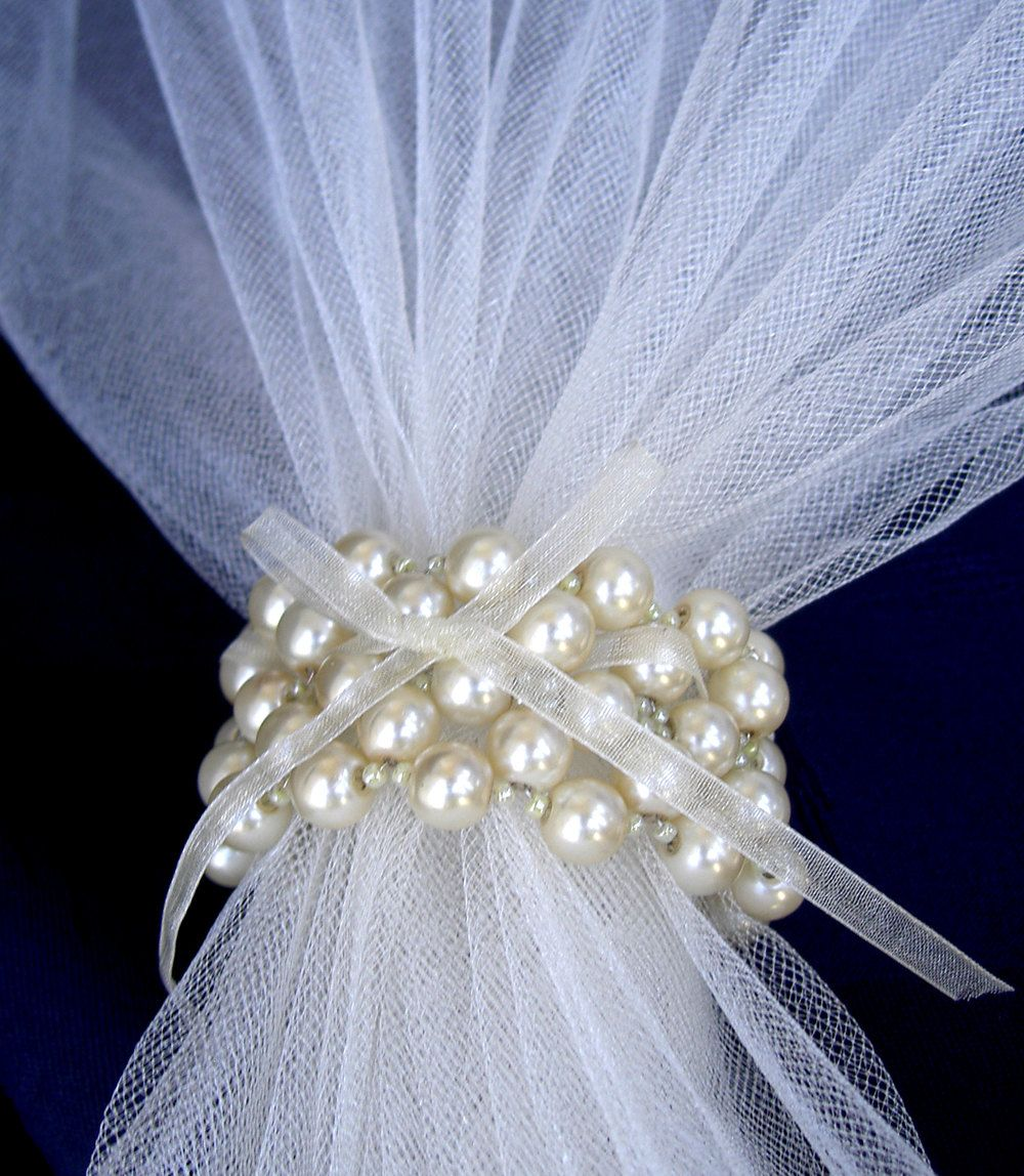 Wedding Napkin Rings Creme Pearls Napkin Rings Beaded by Umis