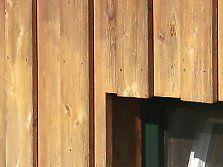 Holz fassade mit boden deckel schalung mauer und gehweg for Boden deckel schalung
