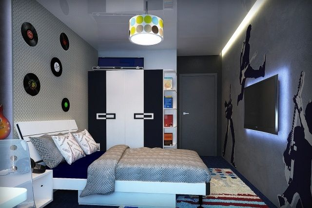 jugendzimmer ideen deko junge musik fan flachfernseher wand hinterbeleuchtung kinderzimmer. Black Bedroom Furniture Sets. Home Design Ideas