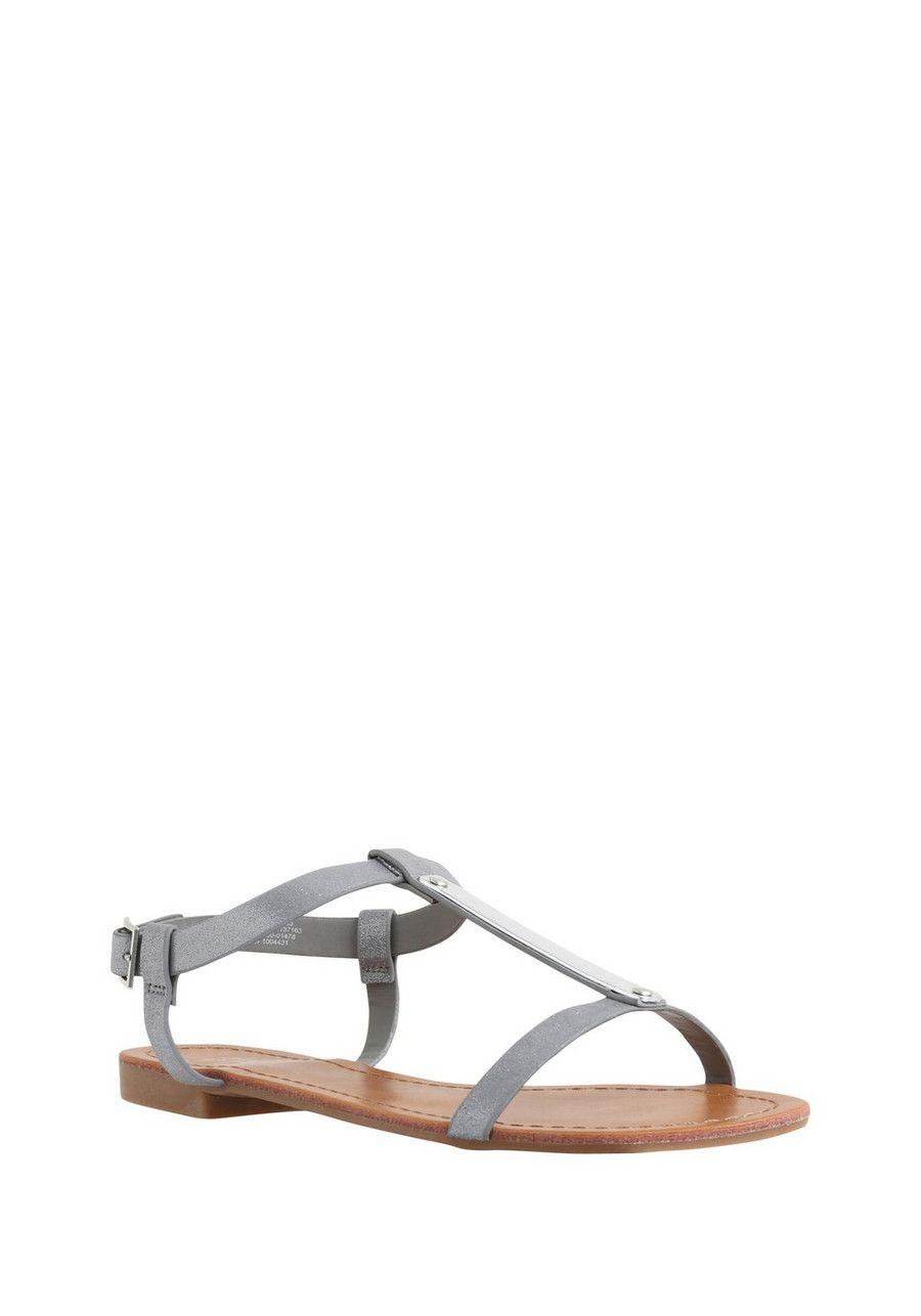 F\u0026F Silver Trim H-Bar Sandals   Womens