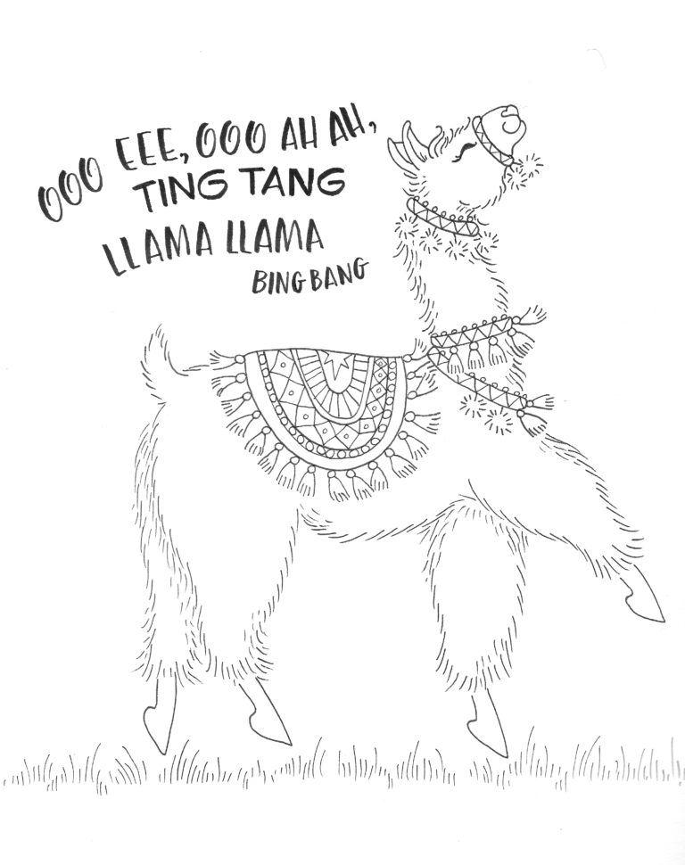 Coloring A Dancing Llama With New Colored Pencils Tombow Usa Blog Llama Drawing Coloring Pages Cute Llama