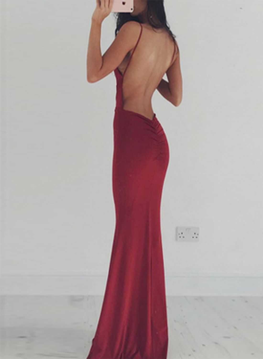 Elegant prom dressesmermaid red long backless prom dress h from