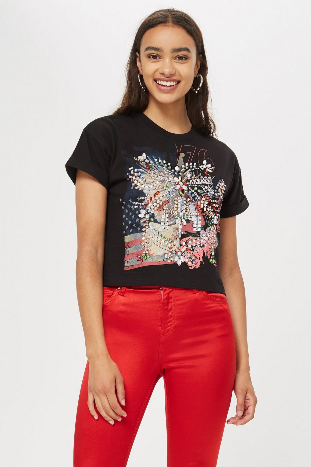 b4371777 Embellished Rock T-Shirt | Party in the USA | Rock t shirts, Shirt ...