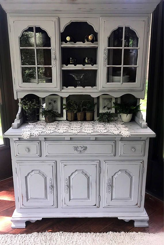 BEAUTIFUL Gray Farmhouse Hutch Vintage Rustic Dining Room