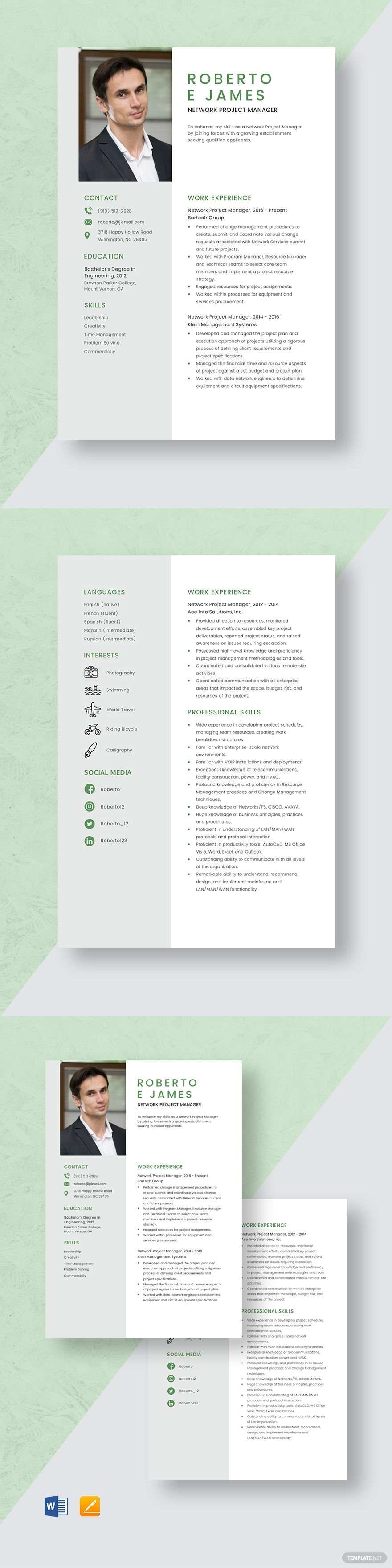 Network Project Manager Resume Template #AD, , #Ad, #Project, #Network, #Manager, #Template, #Resume