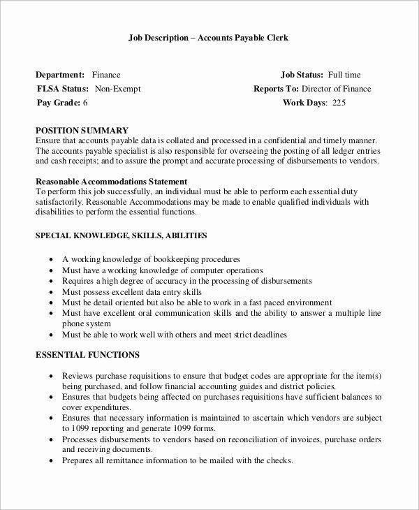 Account Payable Job Description Resume Elegant Accounts Payable Manager Job Description Job Description Counselor Job Description Nurse Job Description