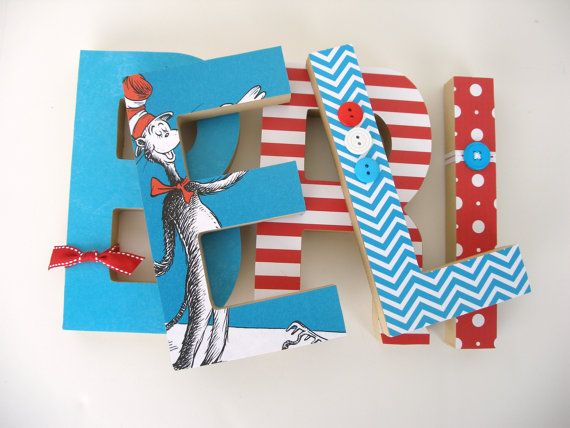 Seuss Custom Wood Letters Children S Used Book Pages Nursery Alphabet Décor Storybook Name Art Cat In The Hat Baby Shower Gift