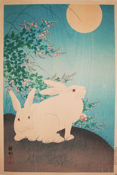 two rabbits and the full Moon by Shoson , ca1930