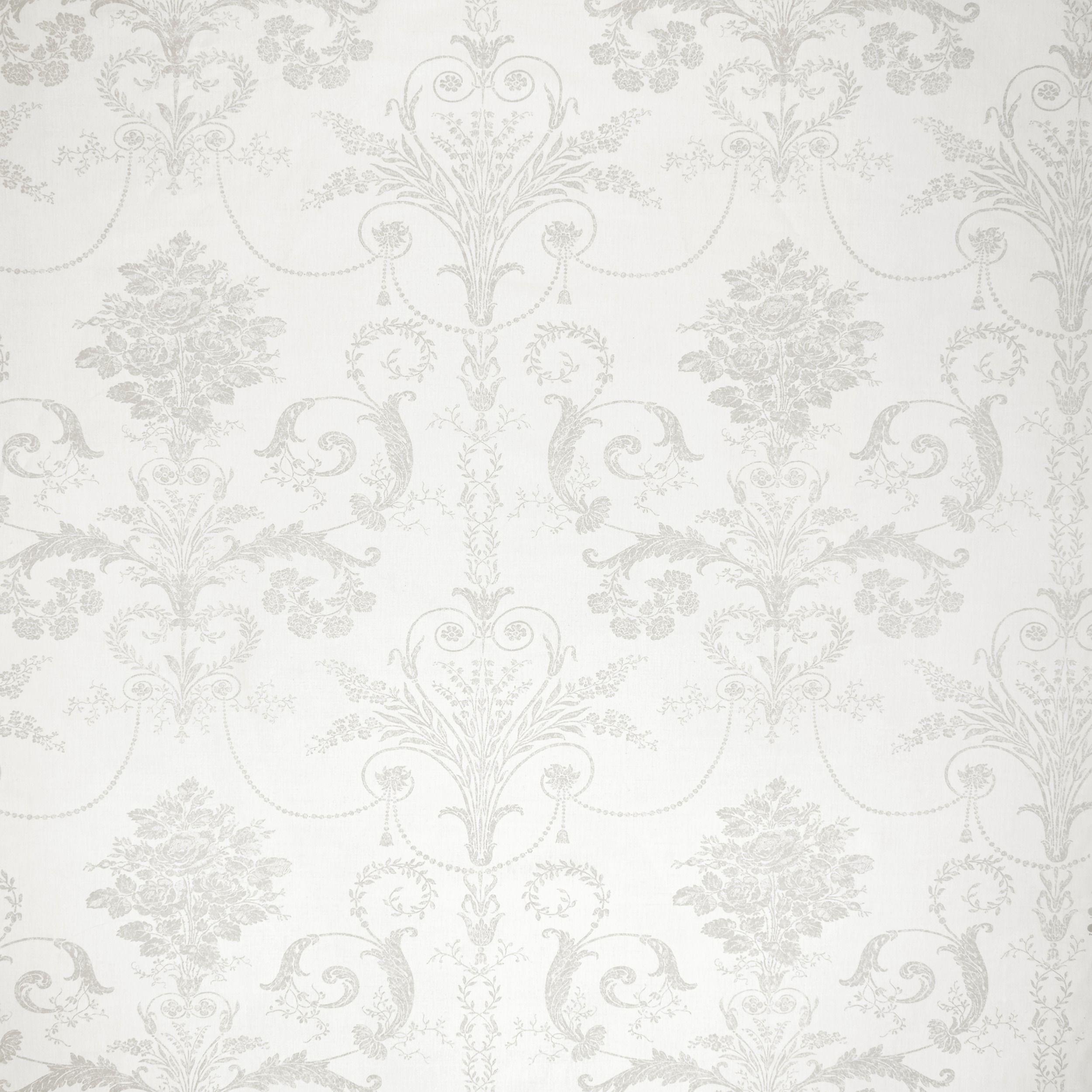 Josette Dove Grey White Floral Linen Cotton Mix Curtain Fabric At
