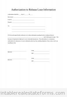 Sample Printable Loan Authorization Form Real Estate Forms