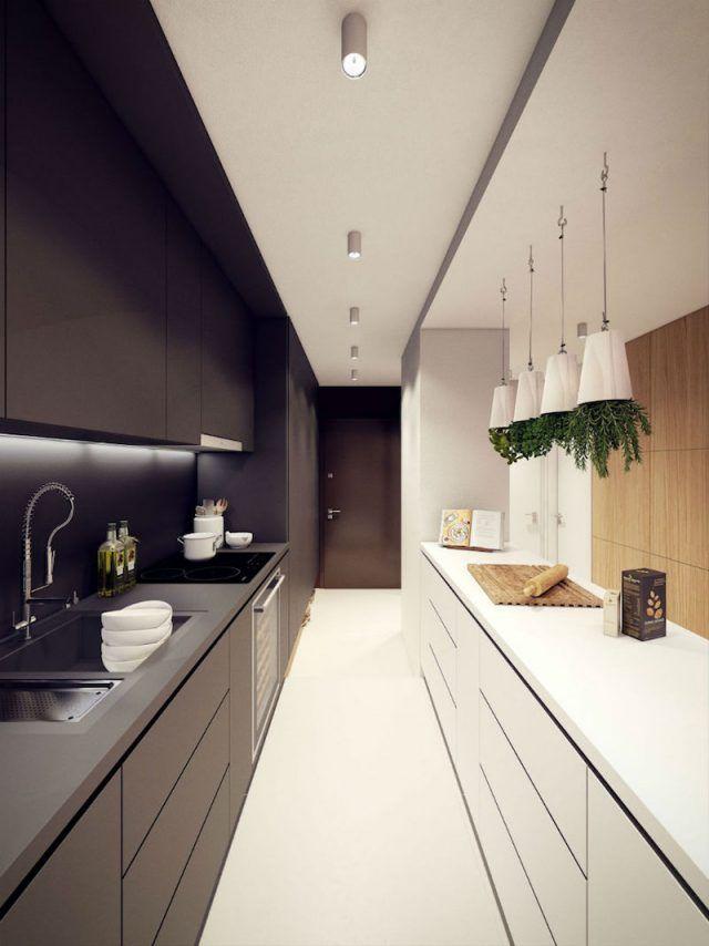 comment-amenager-cuisine-longueur-ultra-moderne-noir-blanc-mat ...