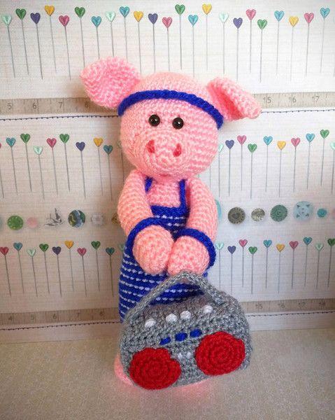 Muñecos - Cerdo bailarín - hecho a mano por Rosebud-tienda en ...
