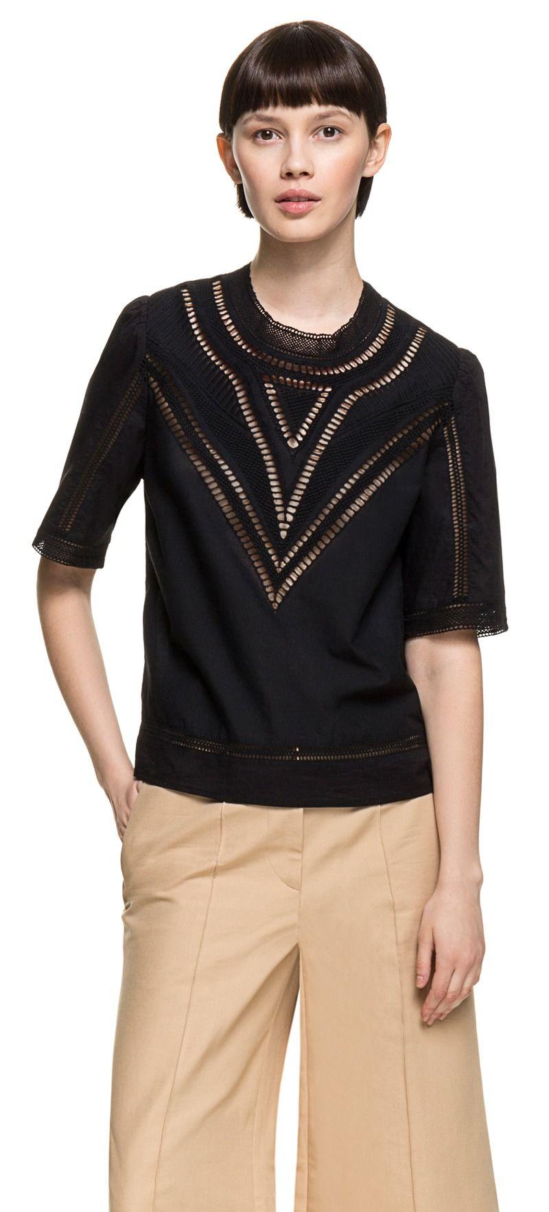 Blusa bordada negra | BIMBA Y LOLA ®