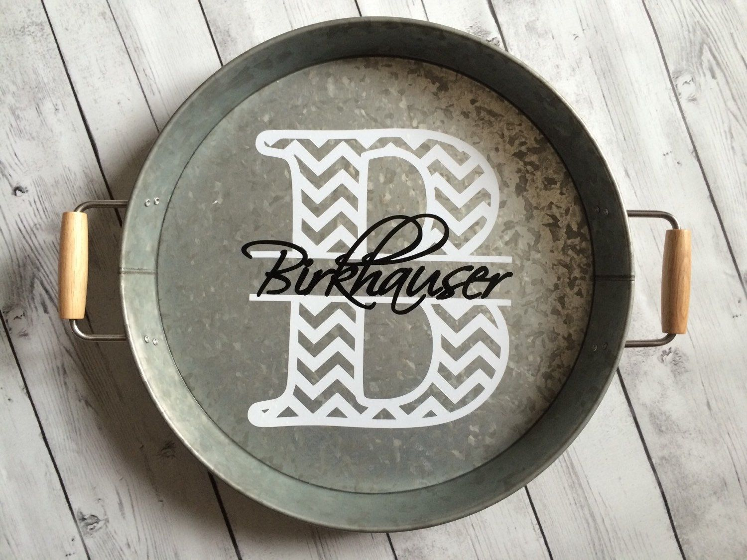 Monogrammed or Personalized Galvanized Steel Round Serving Tray ...