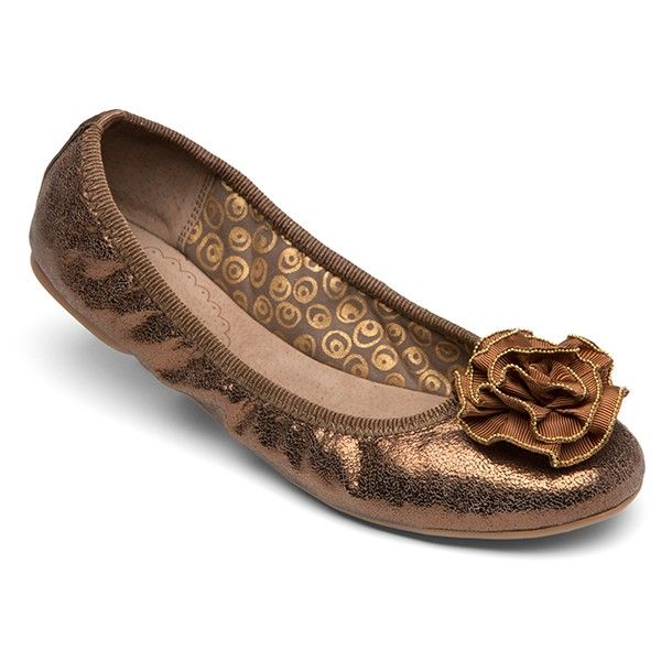 Lindsay Phillips ballet flats, Liz METALIC BRONZE LEATHER pumps with changeable snaps - Holiday Shoes