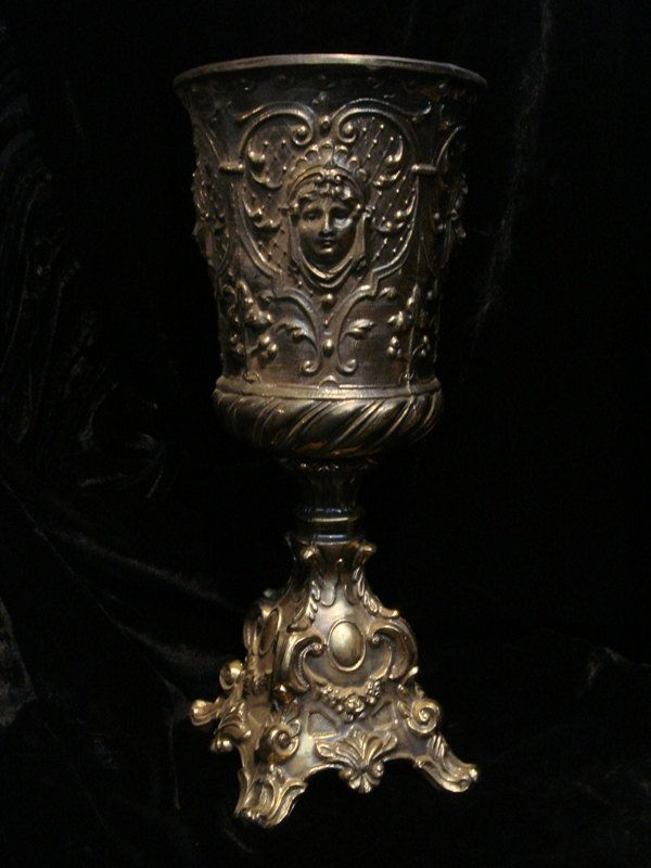 Gothic Ornate VINTAGE URN with FACES at Gothic Rose Antiques. $95.00, via Etsy.