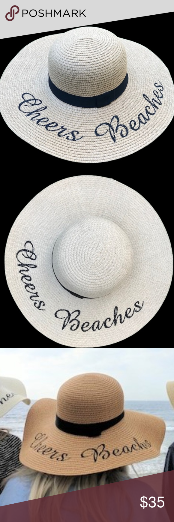 d8d2a38a Cheers Beaches Floppy Beach Hat in Tan These embroidered straw hats are one  size fits all