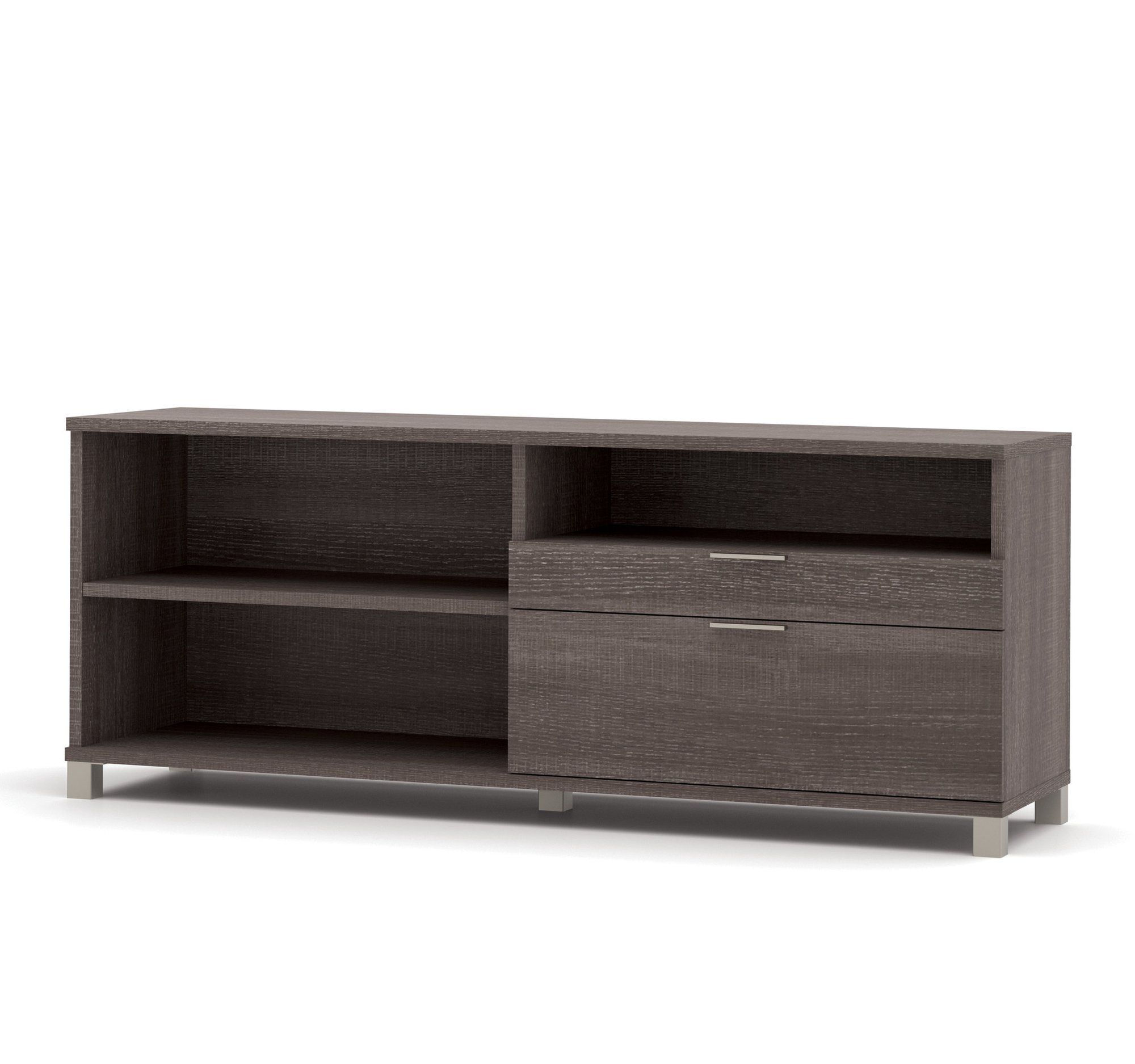 Modern 71 Credenza With File Drawer In Bark Gray With Images