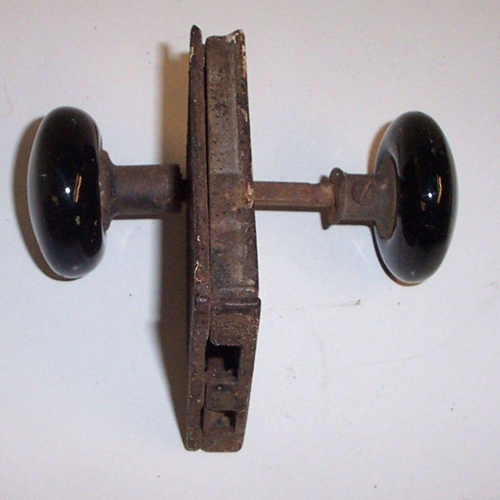 Antique Vintage Door Knobs Lock Plate with Doorknobs Black Porcelain ...