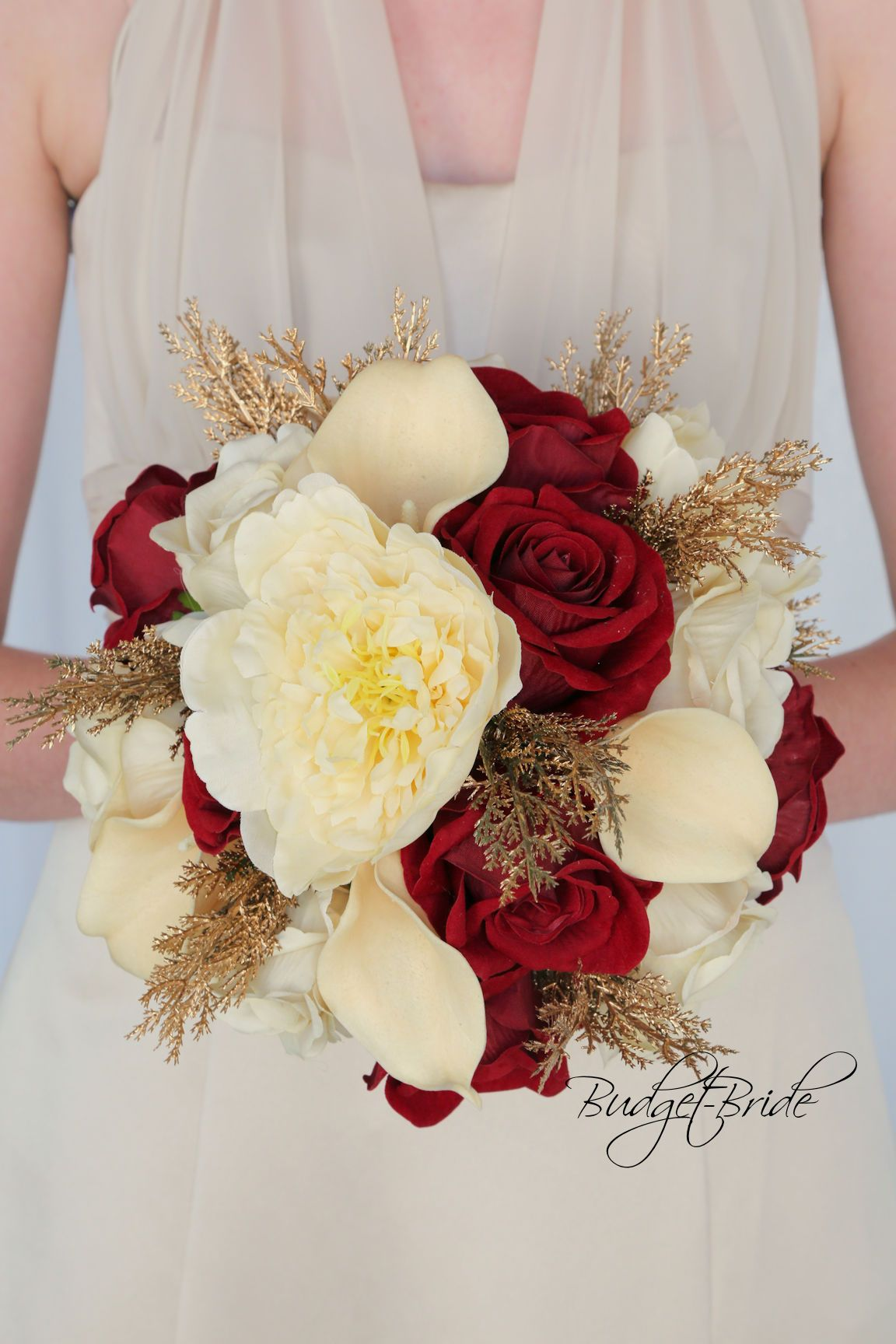 Champagne Gold And Apple Red Wedding Flower Bouquet Shown On Davids
