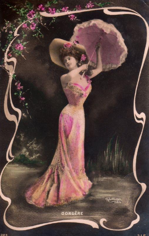 アンティーク ポストカード*薔薇飾りの美しい女性 Arlette Dorgere - 雑貨 -【garitto】