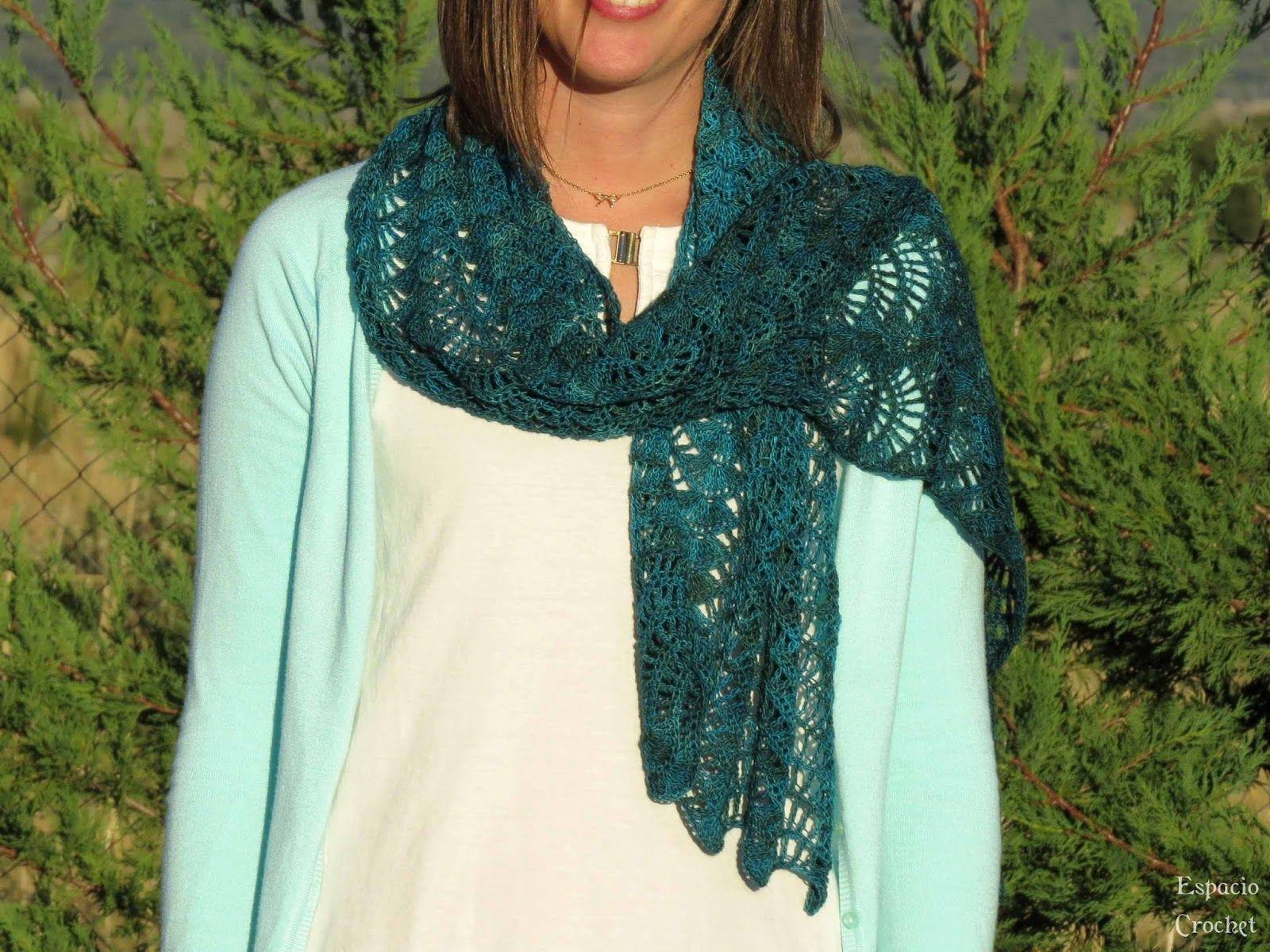 Espacio Crochet: Chal rectangular, patrón gráfico muy bonito ...