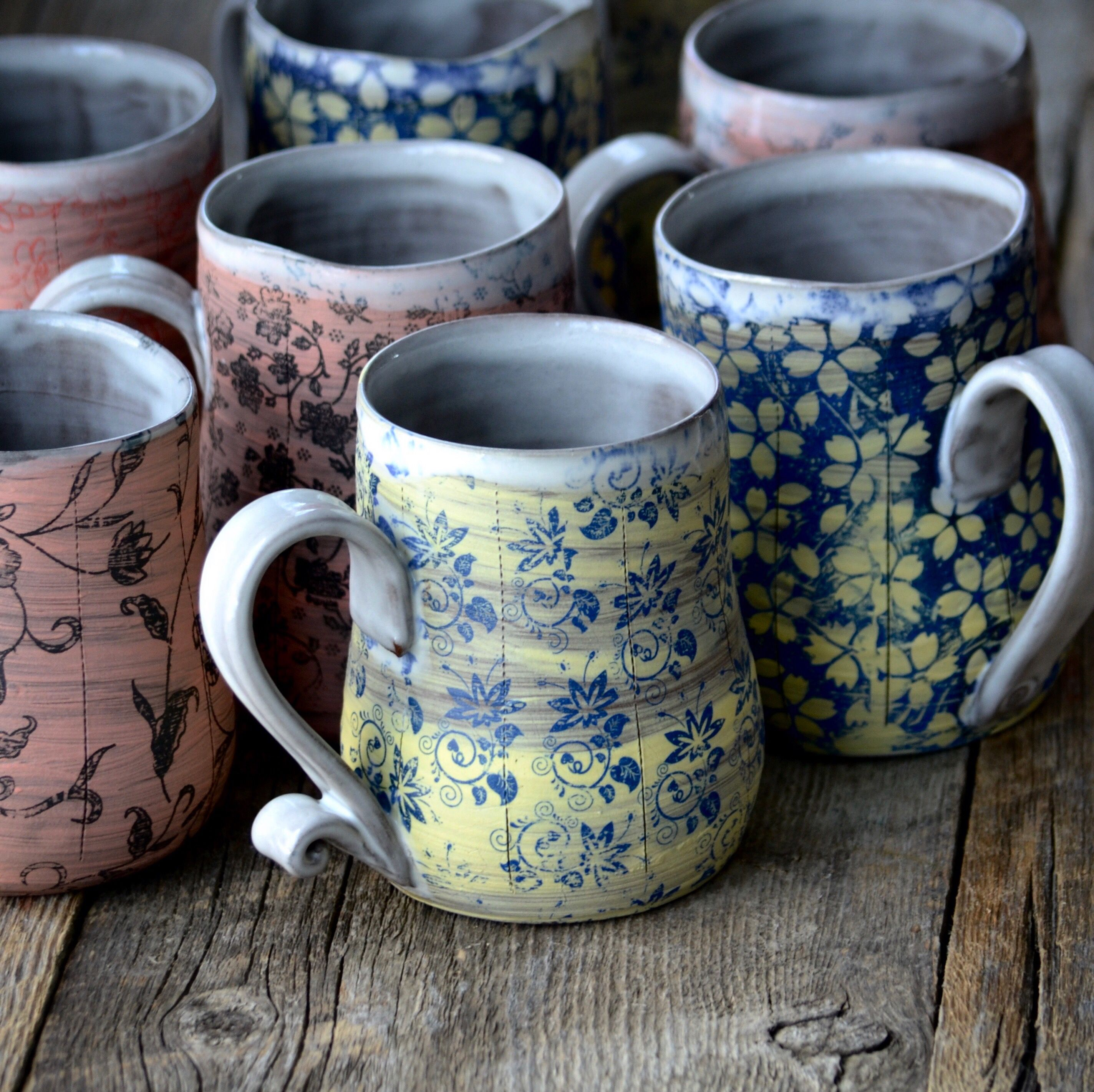 Large Handmade Ceramic Coffee Mug Tan With Turquoise Blue Stripe