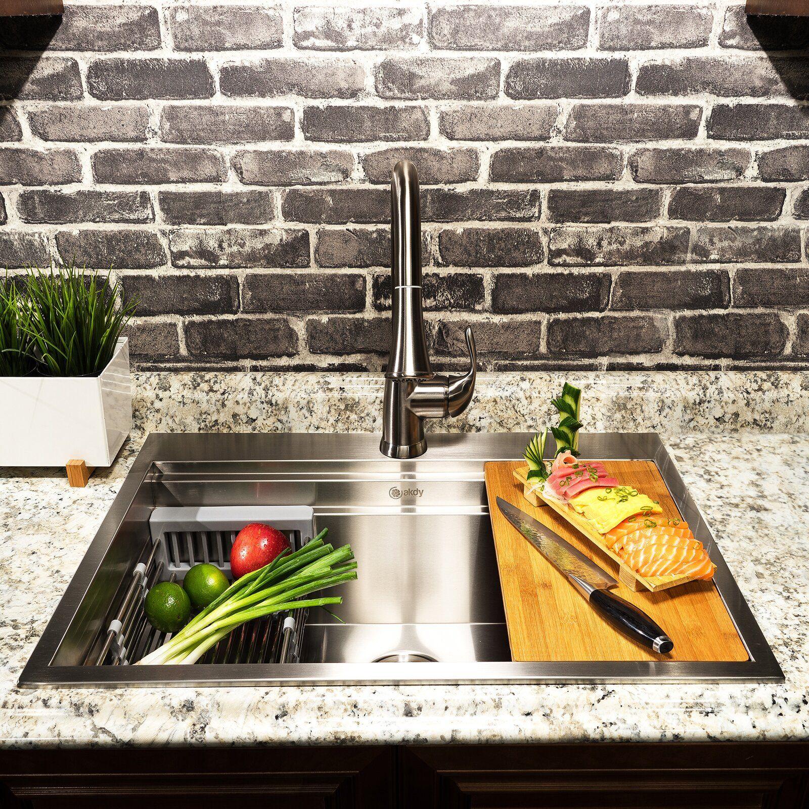 30 l x 22 w dropin kitchen sink with basket strainer