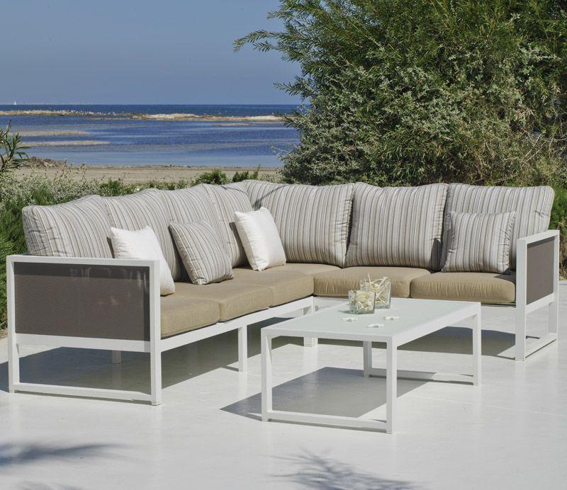 Salon de jardin Hévéa Melisa aluminium blanc 5 places | Salons