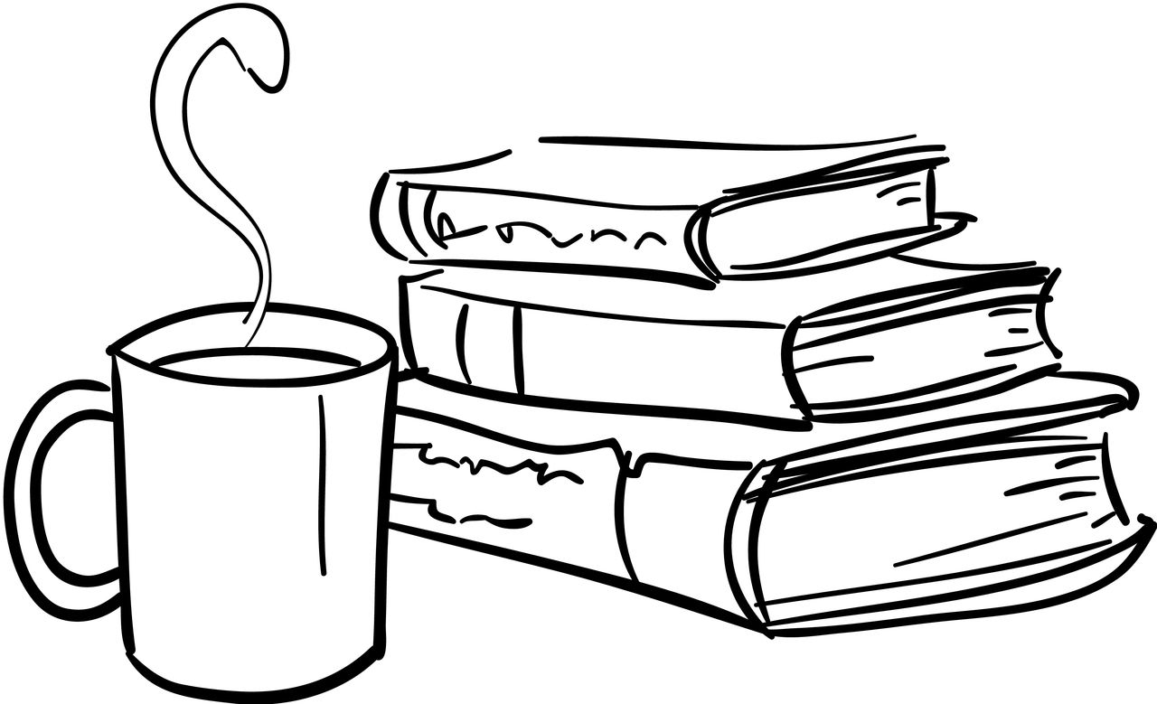 Book Clipart Coffee And Pencil And In Color Book Clipart Coffee And