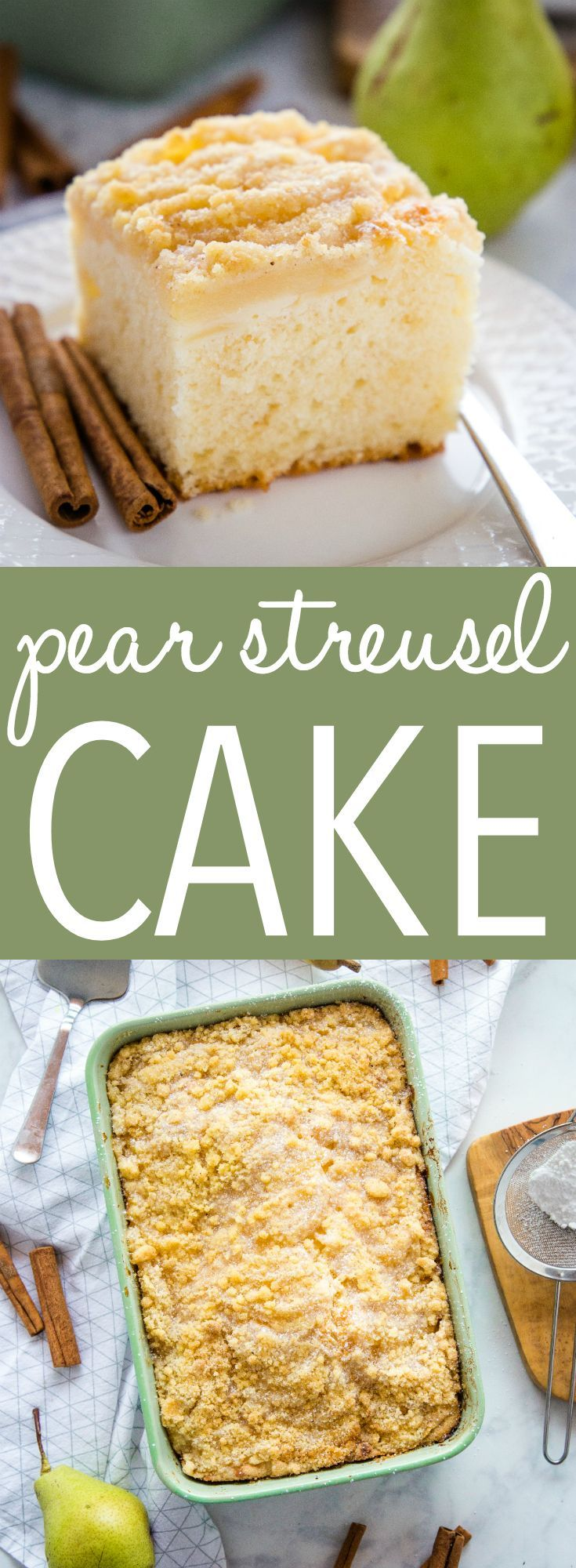 Pear Streusel Cake This Pear Streusel Cake is the perfect fall and winter dessert with an easy-to make tender cake base and a delicious streusel topping - make it with fresh or canned pears for an easy dessert! Recipe from ! via @busybakerblog