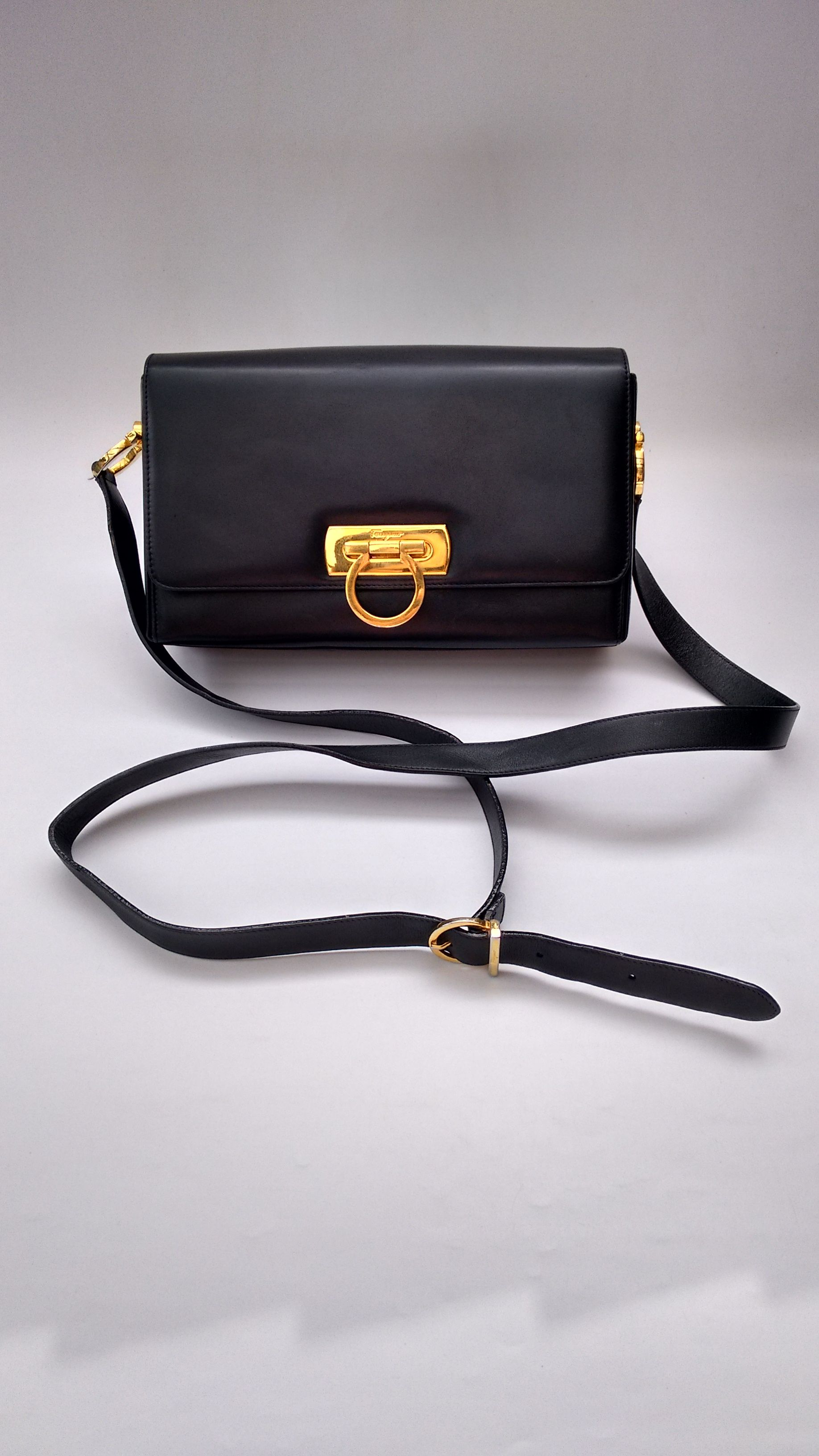 f99383b56c FERRAGAMO Bag. Salvatore Ferragamo Vintage Gancini Navy   Dark Blue Leather  Shoulder   Crossbody Bag. Italian designer purse.