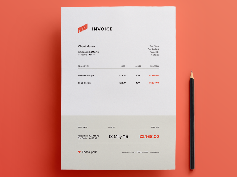 Download Simple and Creative Invoice Template   Free Print Template     Download Simple and Creative Invoice Template