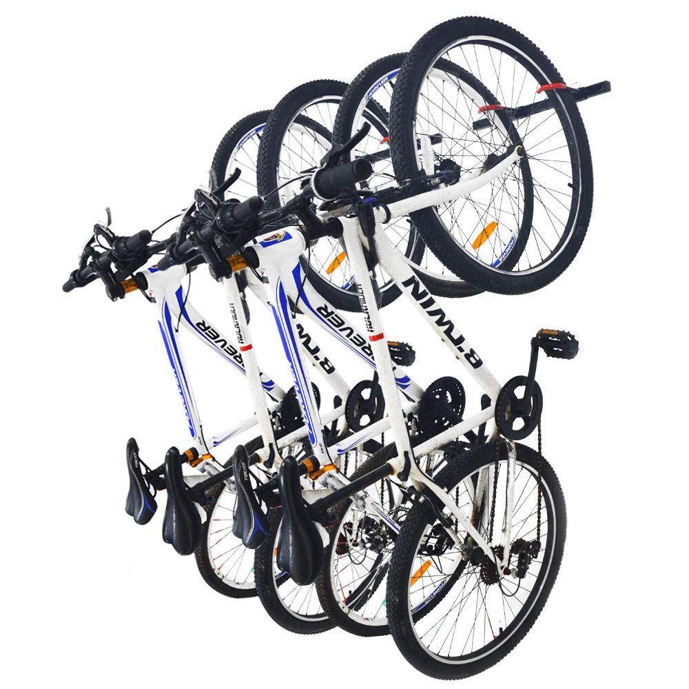 Qualward Bike Wall Mount Storage Rack For Garage And Home Bicycle Hanger Hanging 4 Bicycles 2 Pack Want In 2020 Bike Wall Mount Bicycle Wall Mount Bicycle Hanger
