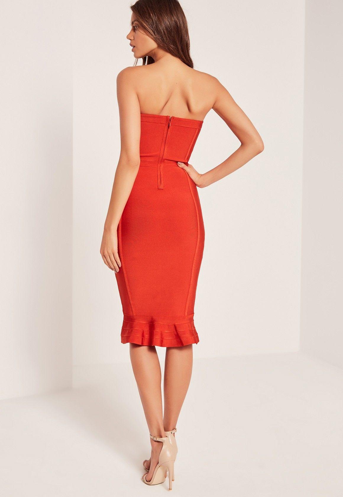 99c9f5e1153 Missguided - Premium Bandage Bandeau Frill Hem Midi Dress Red